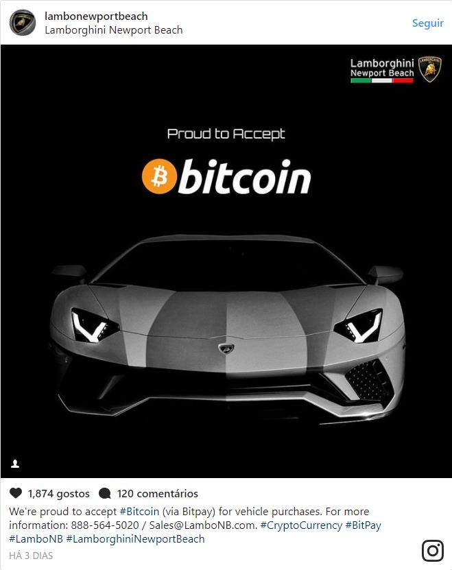 Muitas Pessoas Acharam Que A Lamborghini Estava Aceitando Bitcoin Em Uma  Escala Global. Porém, Não é Verdade. A Principio, Apenas Esse Revendedor  Está ...