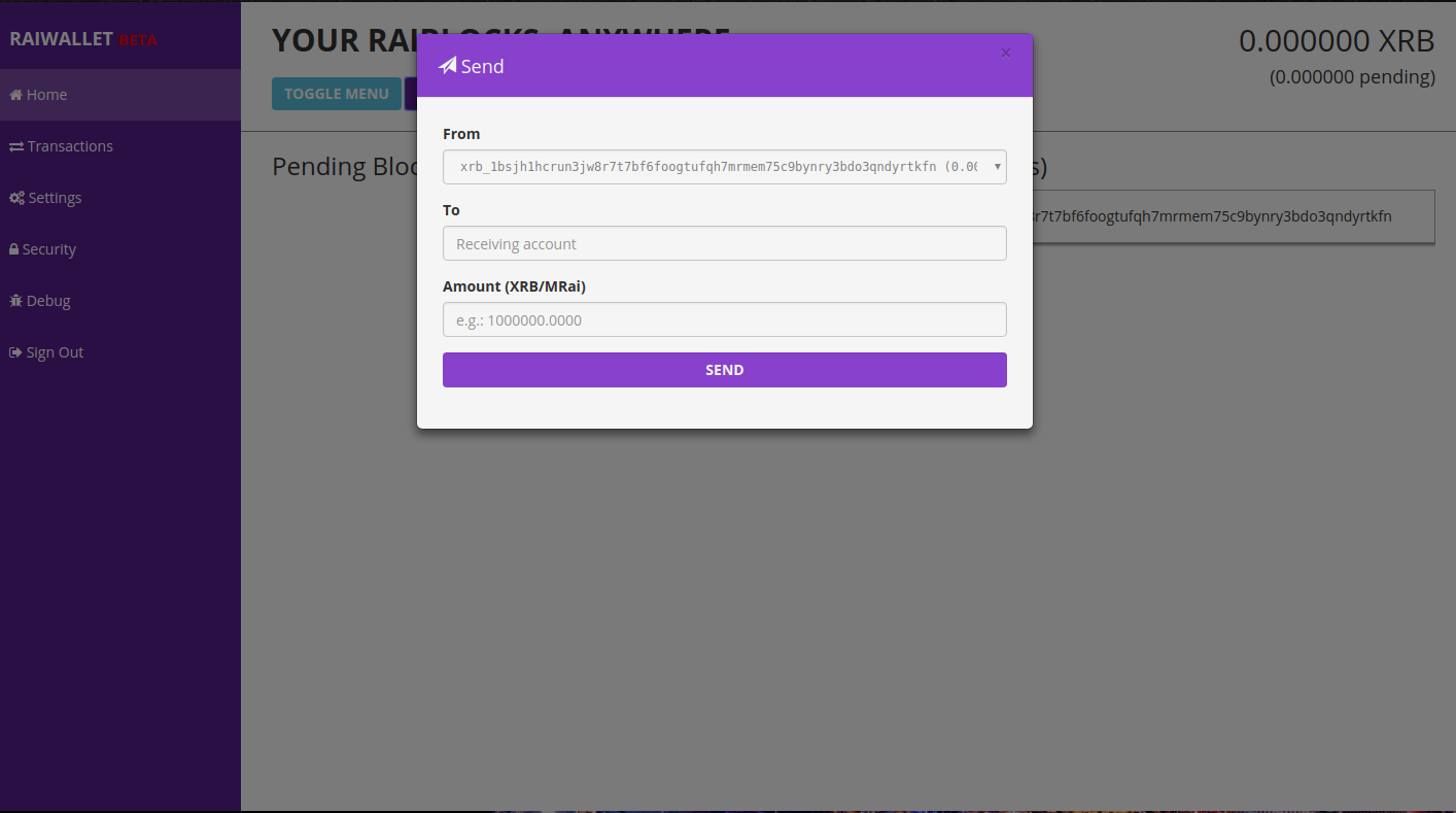 Raiwallet, a carteira digital de Raiblock. Envio de Raiblock para outra pessoa.