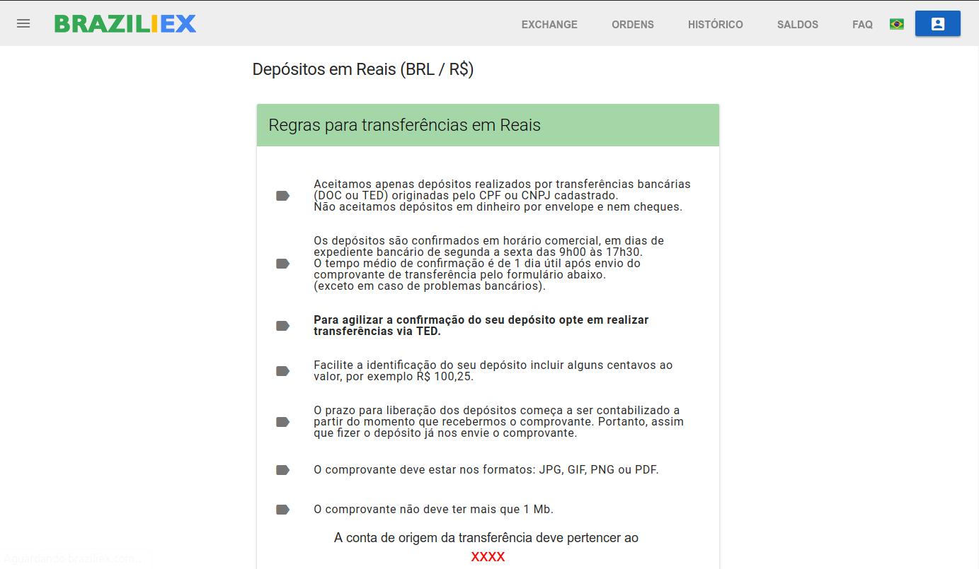 Regras para transferências para o Braziliex